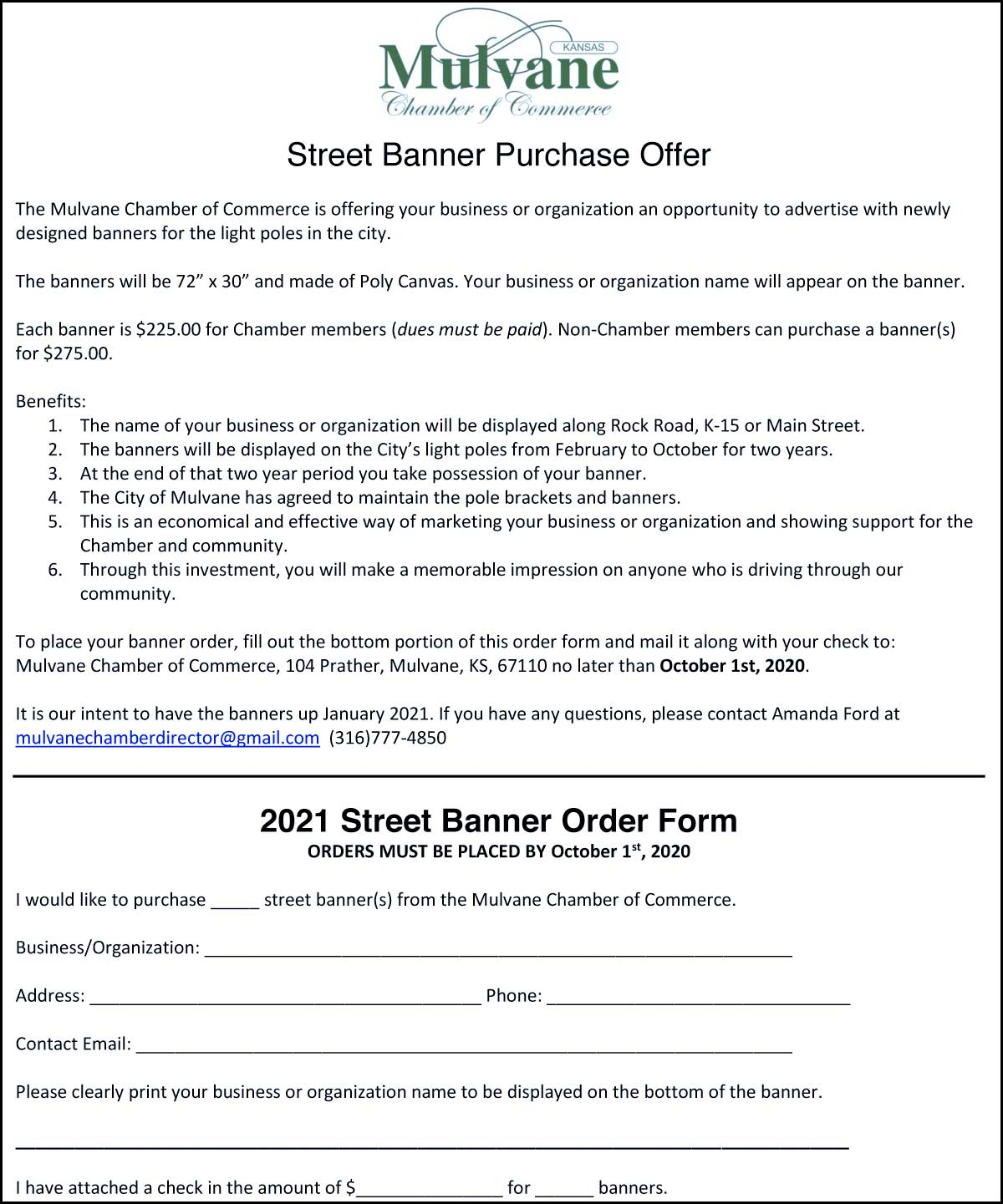 2020 Mulvane Chamber of Commerce Multi-Color Street Banner Order Form