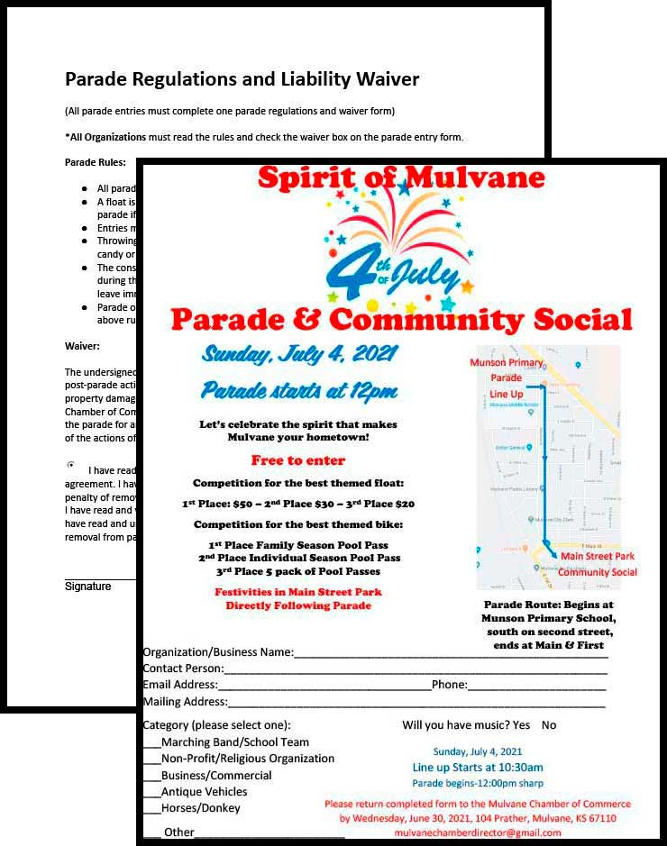 Mulvane Fourth of July Parade Entry Form, Regulations & Waiver Packet PDF