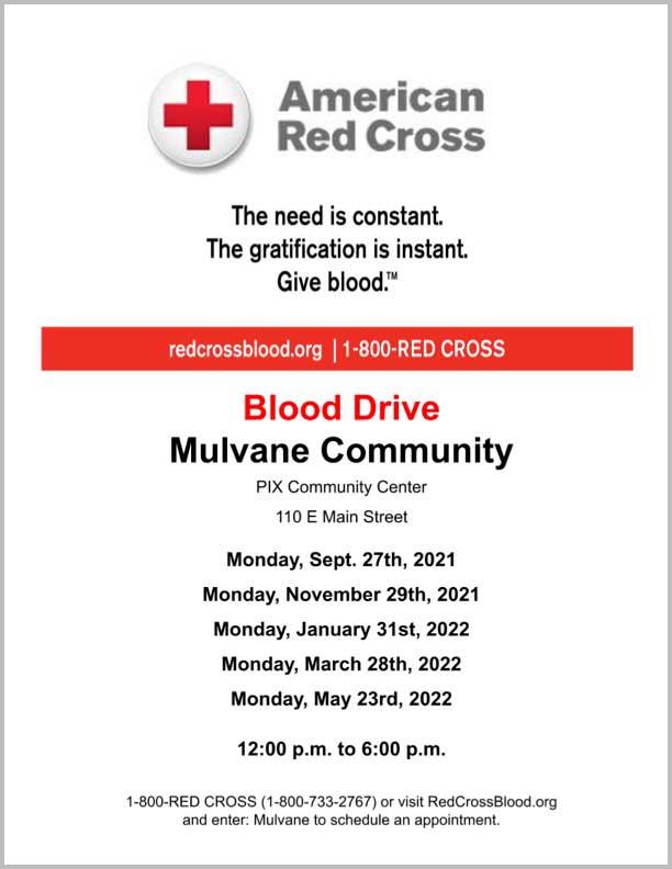 Mulvane Kansas Community Blood Drive 2021-2022